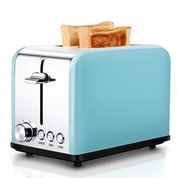 Compact Stainless Steel 2-Slice Toaster, Extra Wide Slots Co