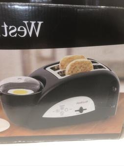 West Bend Egg & Muffin Toaster TEM500W Silver Black Poacher