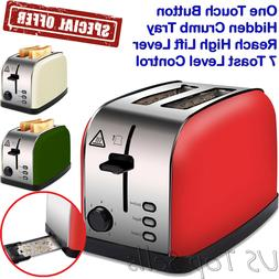 Electric Toaster 2 Slice Bread Wide Slots Bagel Extra-wide H