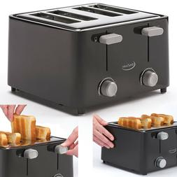 Electric Toaster 4 Slice Bread Four Wide Slots Bagel Kitchen