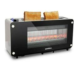 Cusimax Glass Toaster 2 Slice Wide slot Automatic Lifting Sl