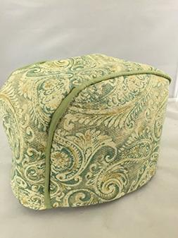 2 Slice Toaster Cover  / Burlap, Green Paisley