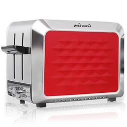 Stainless Steel 2 Slices Red Toaster with Adjustable 7 Shade