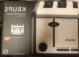 KRUPS KH744D Breakfast Set 4-Slot Toaster with Brushed and C