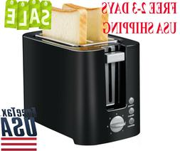 Kitchen 2-Slice Black Toaster Small Compact Bread Toaster Fo