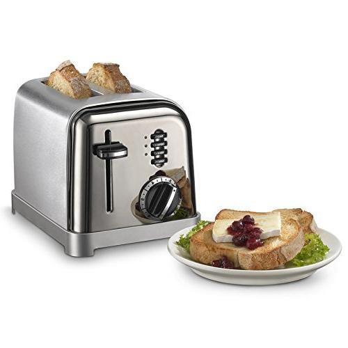 2 Slice Stainless Toaster w/ Slide-Out Tray Lever