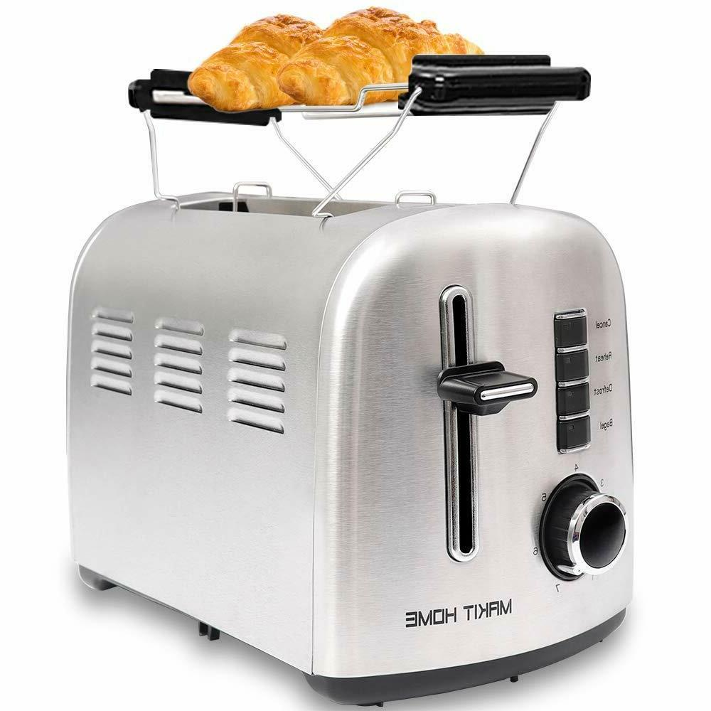 2 slice stainless steel toaster extra wide