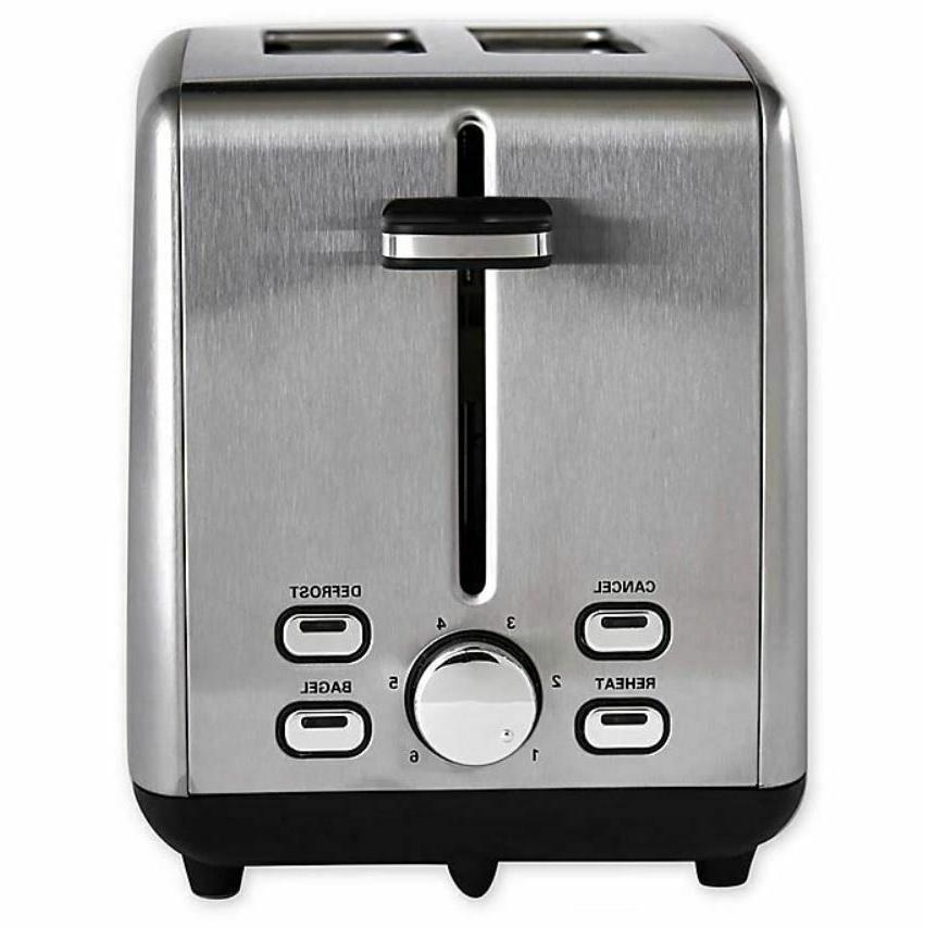 2 slice stainless steel wide slot toaster