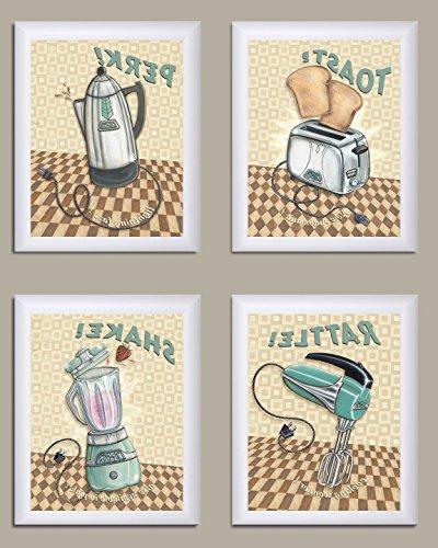 4 retro kitchen appliance prints