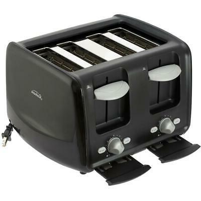 4 Slice Black Toaster, with and Cord