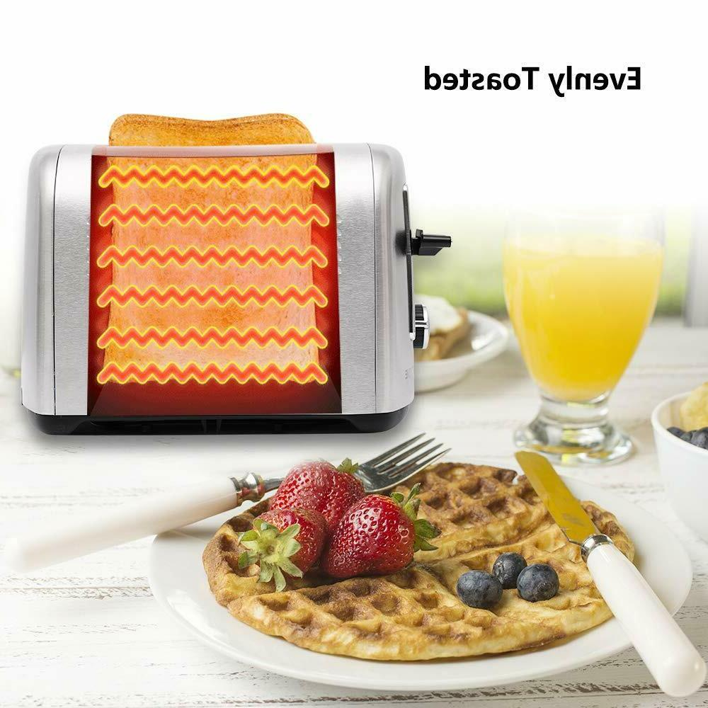 4 Slice Toaster Stainless Steel Wide Slot Lift