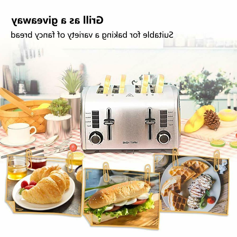 4 Toaster Stainless Steel Slot Bread Oven Lift