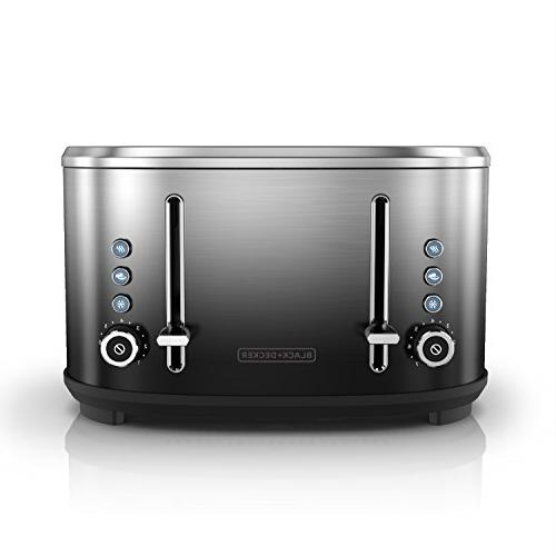 BLACK+DECKER 4-Slice Toaster, Stainless Finish, TR4310FBD