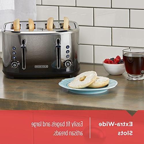 BLACK+DECKER 4-Slice Extra-Wide Toaster, Finish, TR4310FBD