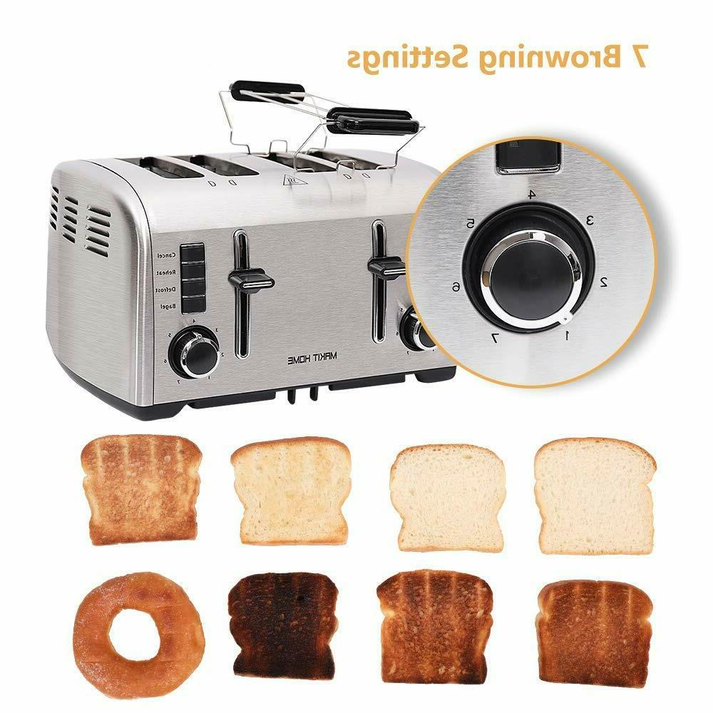 2 / 4 Slice Bread Stainless Steel Extra Manual Lift