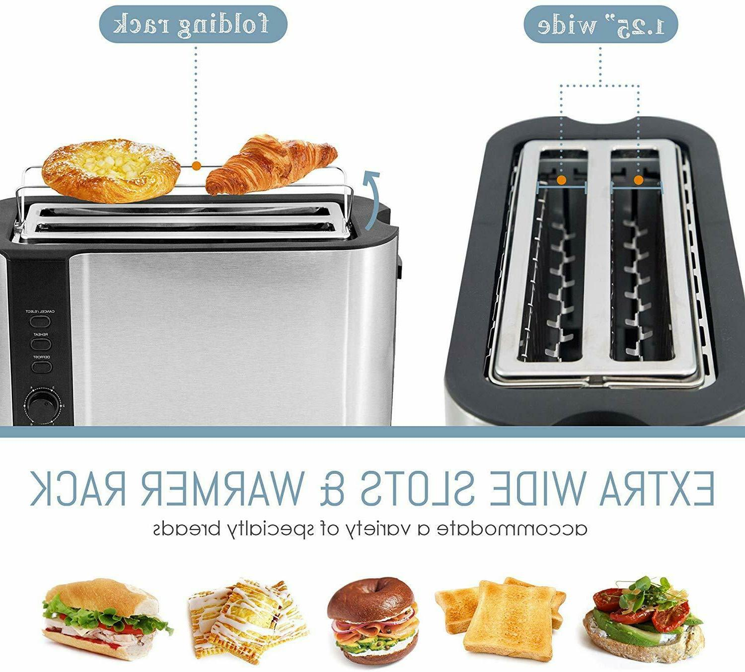 4 Long Slot Toaster With Extra Slot + Warmer
