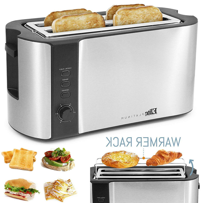 4 slice stainless steel long slot toaster