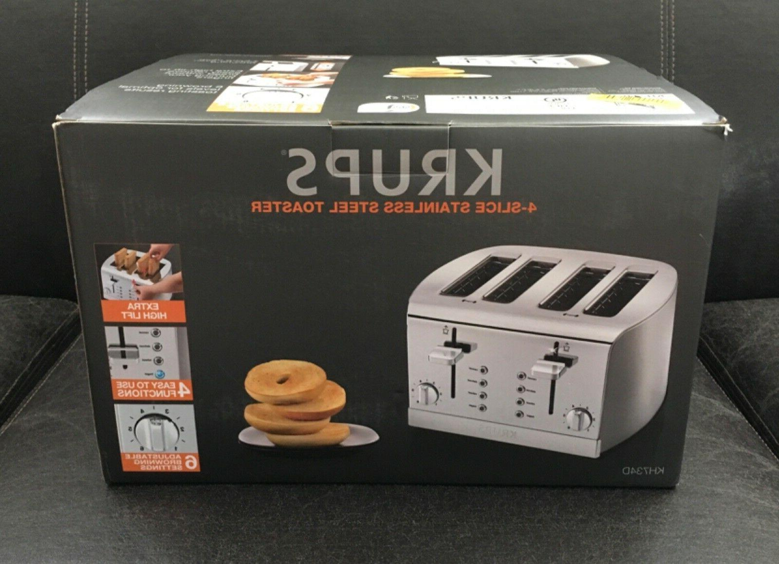 Krups 4-Slice Stainless Steel Toaster KH734D New in Box