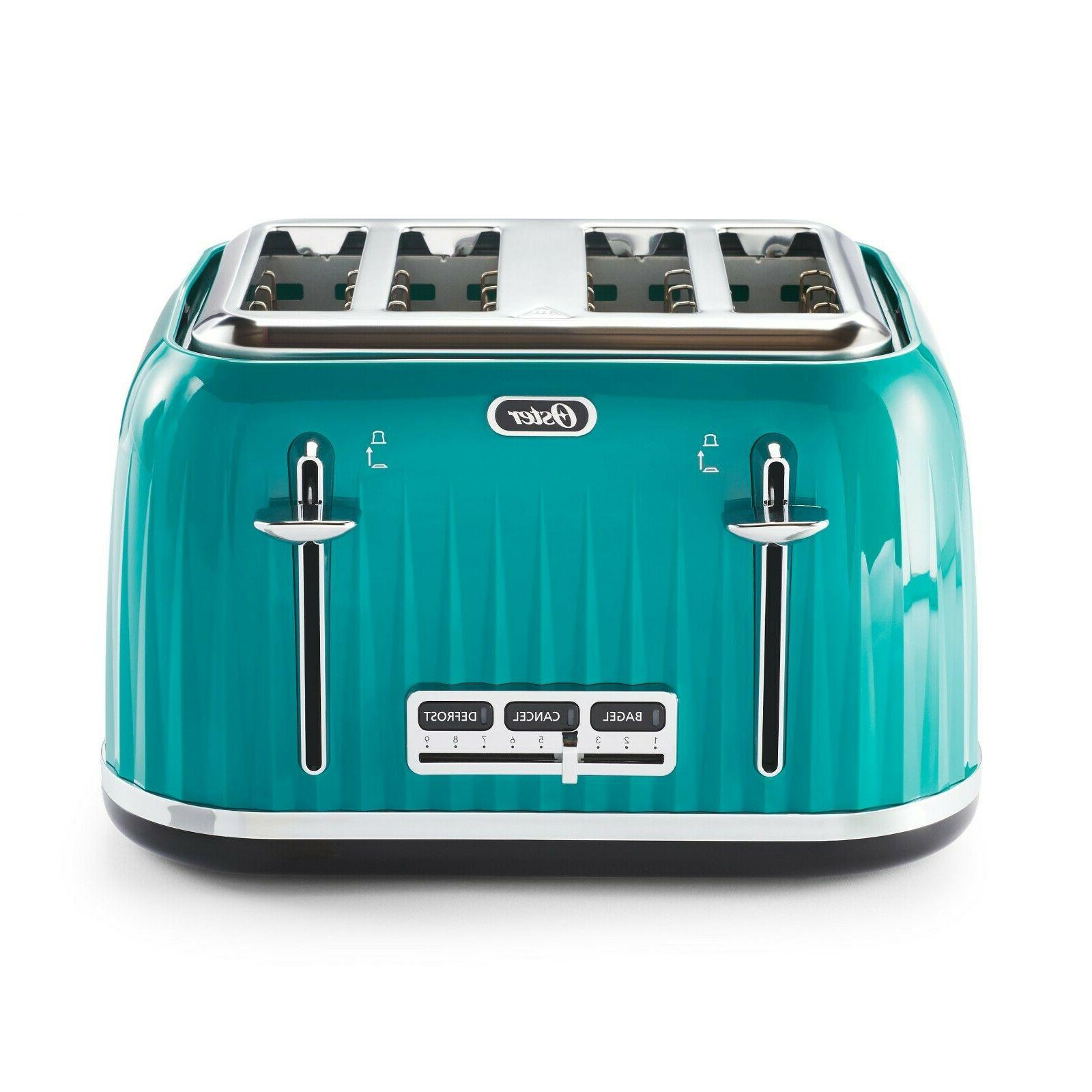 4 slice teal with chrome accents toaster