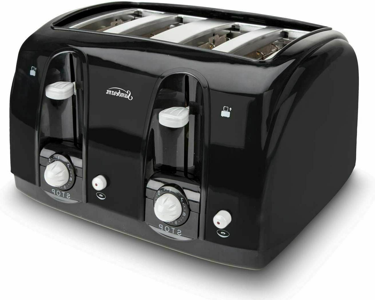 Wide Slot 4-Slice Toaster, Black