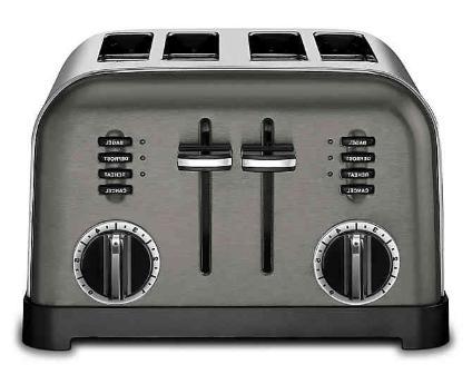 4 slice toaster in black stainless steel