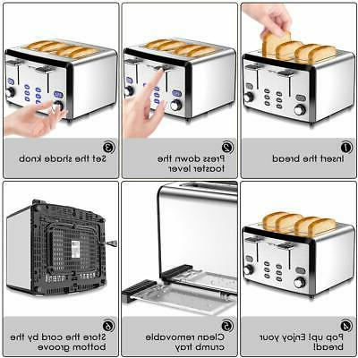 4 Slice Toaster, Mirror Stainless Best Rated Compact