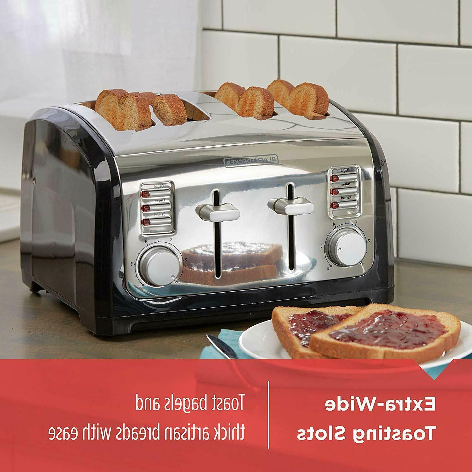 4-Slice Toaster Extra Wide Slots, Steel,