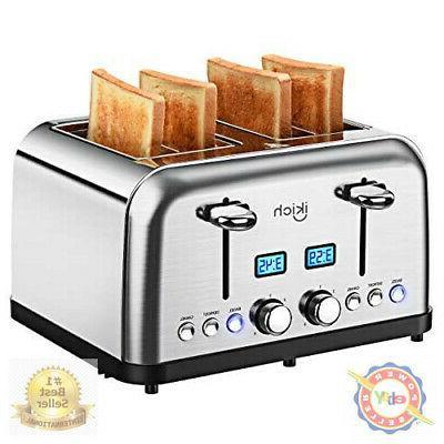 4 slice toaster stainless steel digital countdown