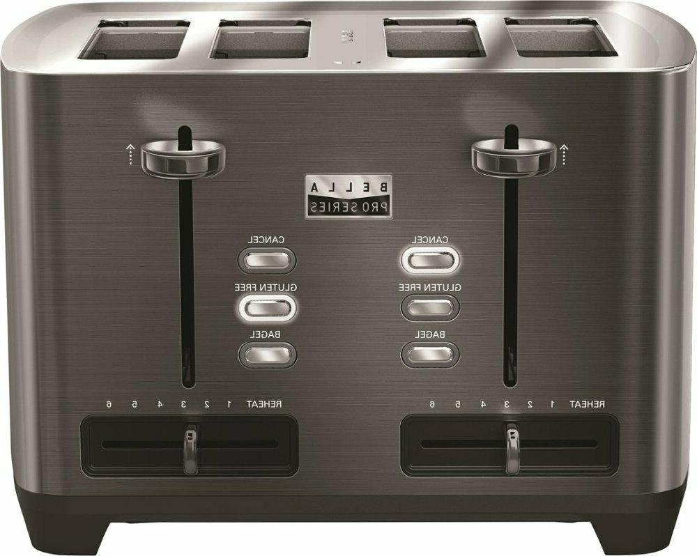 Bella - Pro Series 4-Slice Extra-Wide-Slot Toaster - Black s