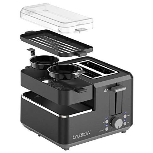 West Bend 78500 Breakfast Station Bagel and Toaster with Tray Vegetable Tray Egg Cooker 2-Slice,