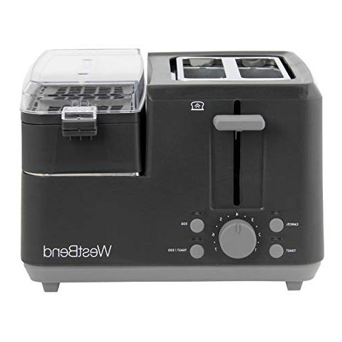 West Bend 78500 Breakfast Station and Muffin Toaster Removable Tray Meat or Egg 2-Slice, Black