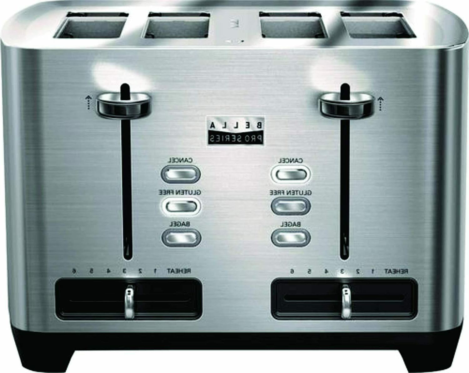 Bella - Pro Series 4-Slice Extra-Wide-Slot Toaster - Black s