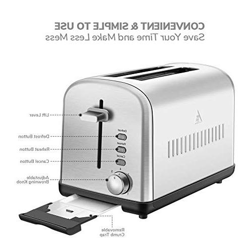 Home Toaster Touch Extra-Wide Dials and Removable Tray, Silver