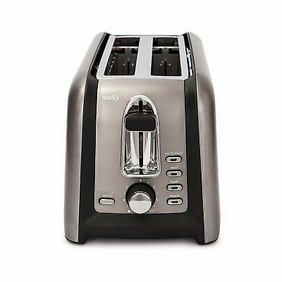 Oster - 4-Slice Extra-Long-Slot Toaster - Stainless Steel/Bl