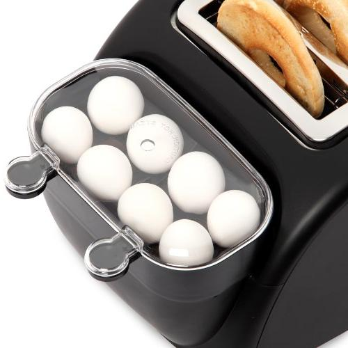 Egg Muffin Wide Slot Toaster Removable Crumb Tray Meat or Tray with and Poacher,