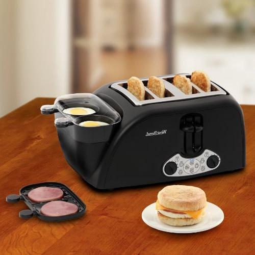 West TEM4500W Egg Bagel and Wide Slot Toaster with Removable Crumb Meat or Warming Tray and Poacher, 4-Slice, Black