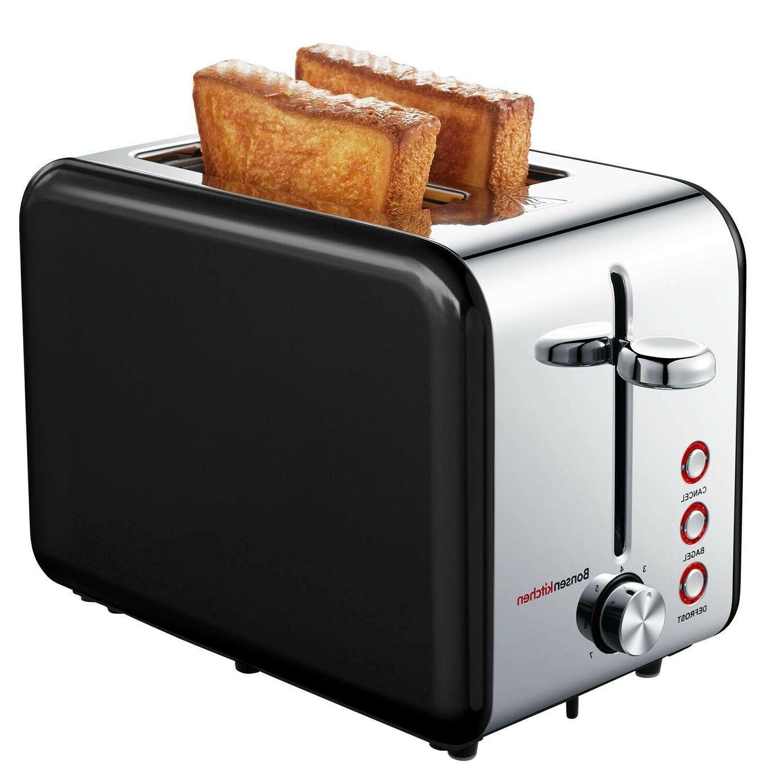 Bagel Toaster 2 Slice Black Stainless Steel Extra Wide Slot