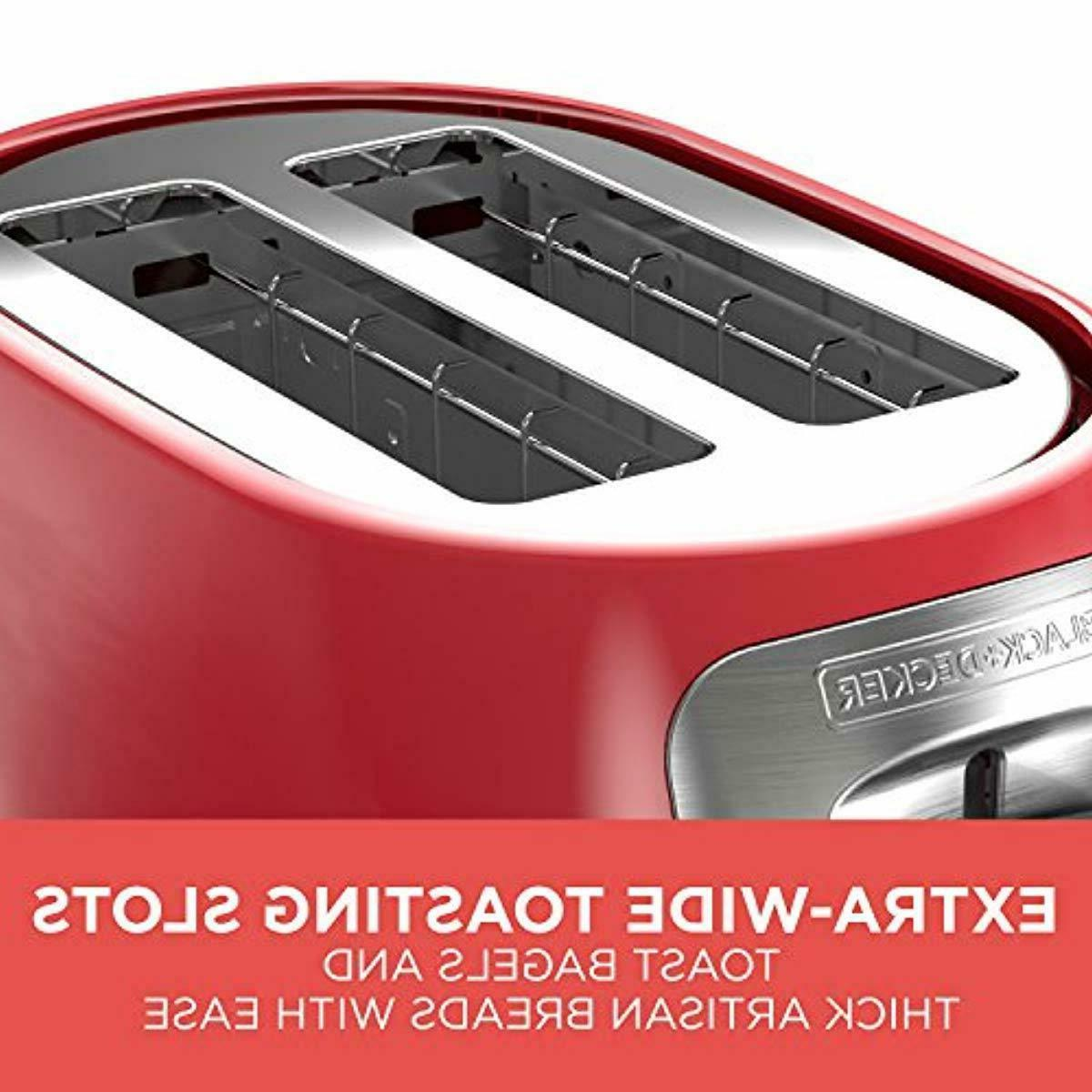 Black And Slice Toaster Toasting Bagel Red