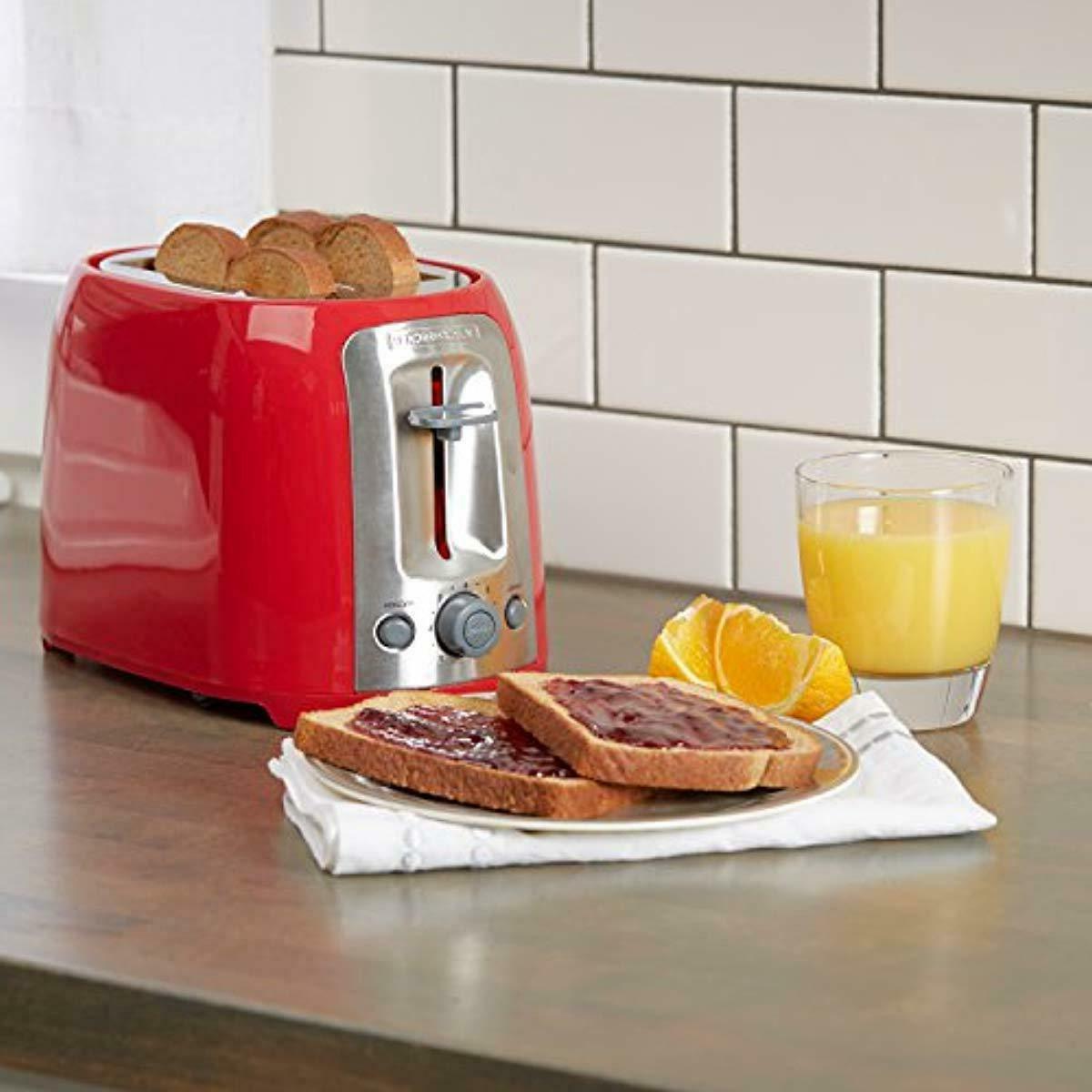 Black Slice Toaster Extra Toasting Bread Toasters Red