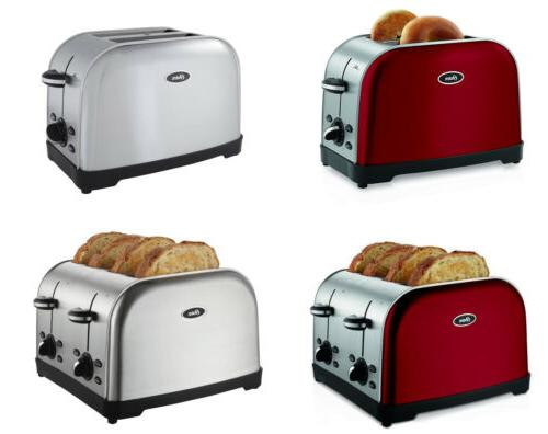 brushed 2 4 slice toaster 2 colors