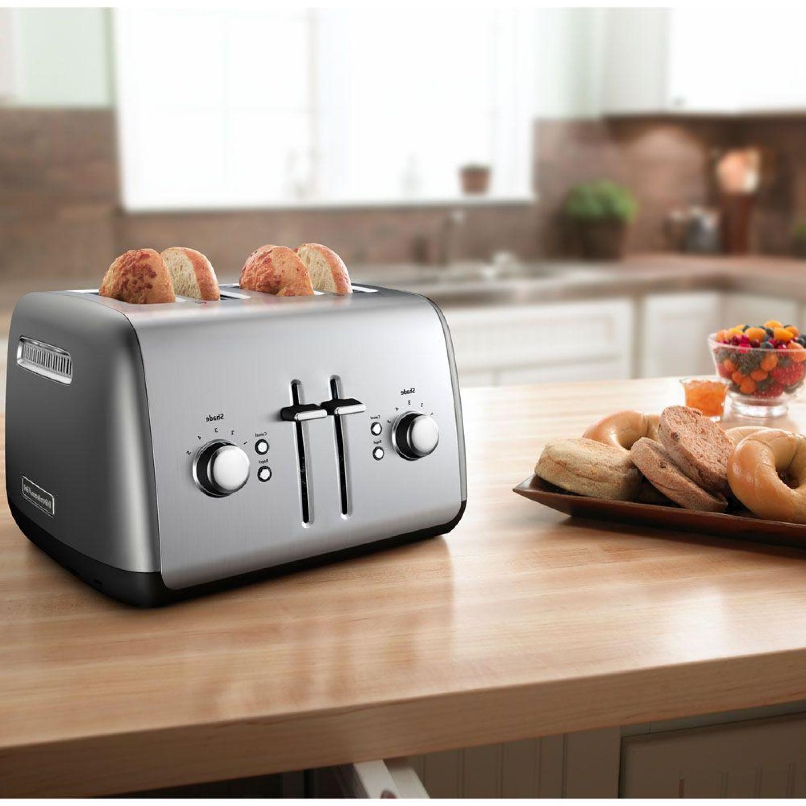 Countertop Toaster 4 Slice Contour Silver Extra Wide Slot Ki