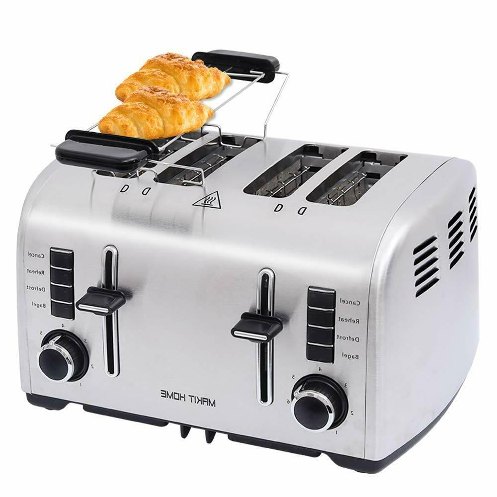 2 / 4 Slice Bread Toaster Stainless Steel Extra Wide Slot w/