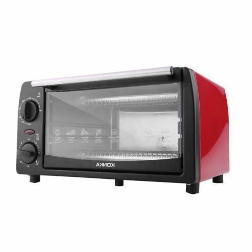 "Toaster Oven 4 Slice Fits 9"" Pizza White Kitchen Bake Broil"