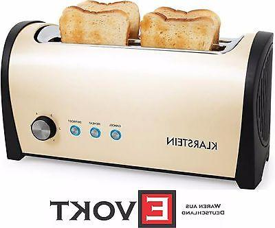 Extra long two-slot toaster for 4 standard toasts with 1400