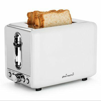 Fortune Candy KST009 White 2-Slice Toaster for Bagels,Stainl