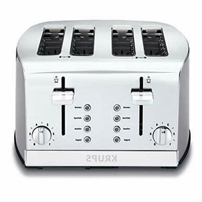 KRUPS Toaster Brushed and Chrome S-Steel 4-Slices Dual Indep