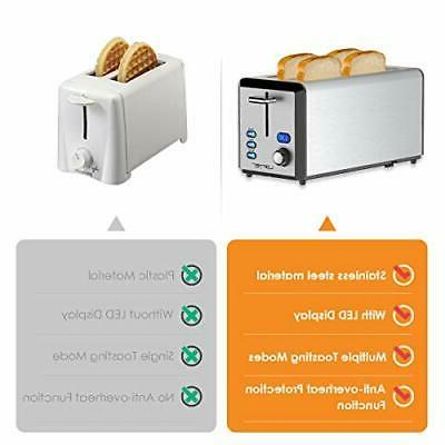 Long 4 Slice Toaster Rated Prime with LED Display, Stainless