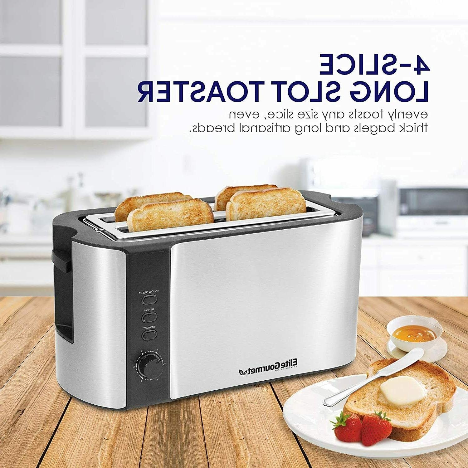 4 slice long toaster with extra wide