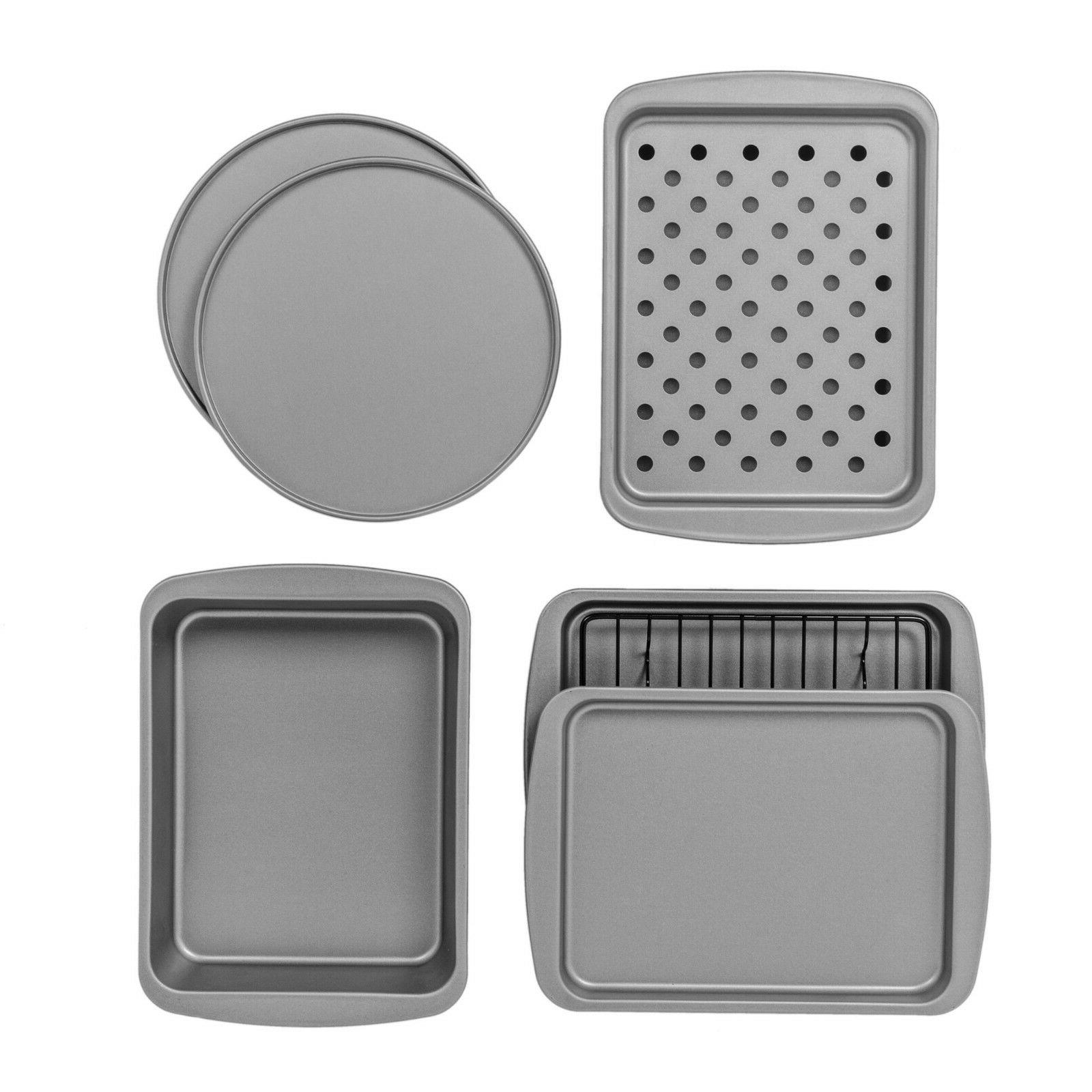 NEWBakerEze 8-Piece Non-stick Toaster Oven Bakeware Set, Piz