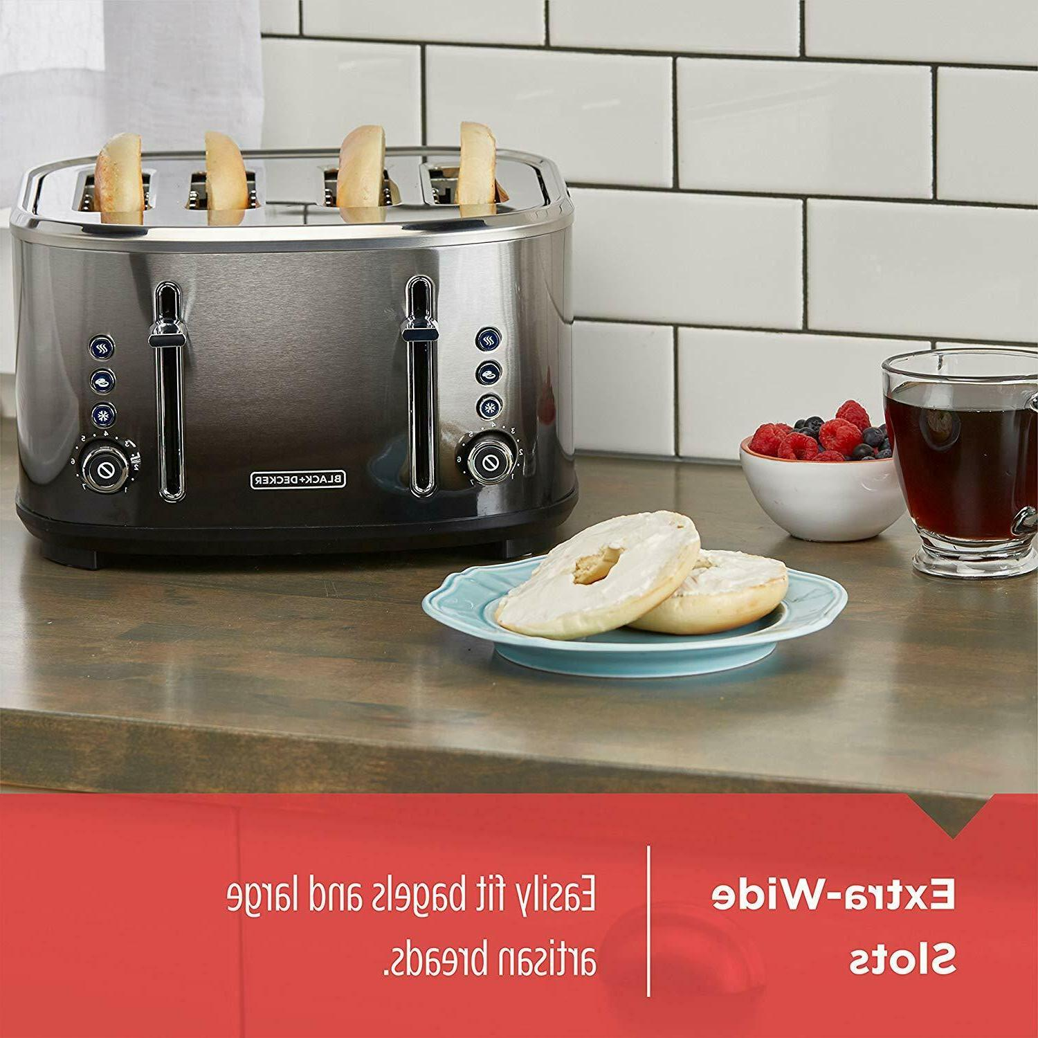 NEW BLACK+DECKER Extra-Wide Slot Toaster, Steel, Ombré Finish